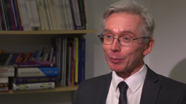government refuses to report operational details over trident missile malfunction england london int prof malcolm chalmers interview sot - 三叉槍点の映像素材/bロール