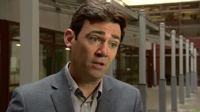 Government reveal Crossrail running 600 million pounds over budget ENGLAND EXT Andy Burnham interview SOT