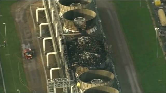 government says 'lights won't go out' after didcot blaze air views fire damaged towers at didcot power station zoom in - didcot stock videos and b-roll footage