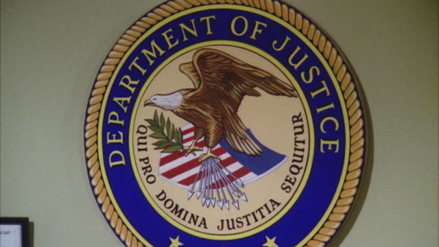 cu zo government seal department of justice on interior wall - justice concept stock videos & royalty-free footage