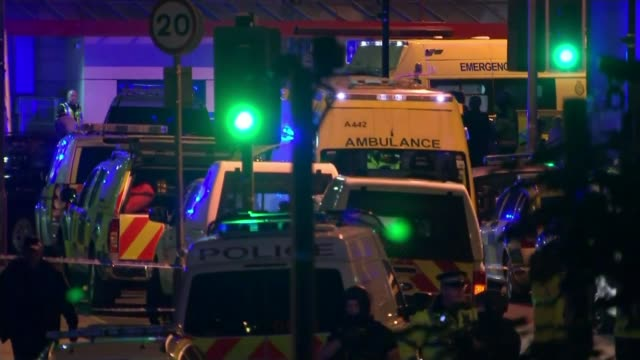 government set to reveal new antiterrorism strategy tx manchester various of emergency service vehicles on the street outside the manchester arena... - manchester arena stock videos & royalty-free footage