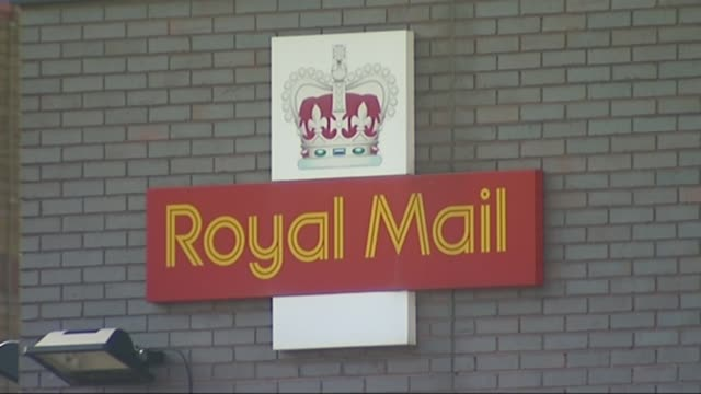 Government spending cuts announced / remaining stake in Royal Mail to be sold T10071314 / TX Royal mail vans at sorting office Royal Mail logo on...