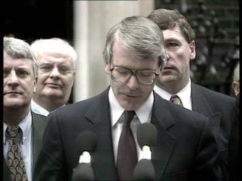 government supports manchester bid to host olympic games in 2000 england london downing street john major standing speaking at microphone sof we are... - northwest england stock videos and b-roll footage