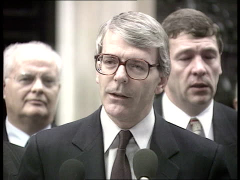 government supports manchester bid to host olympic games in 2000 england london downing street john major standing speaking at microphone sof we are... - ジョン メイジャー点の映像素材/bロール