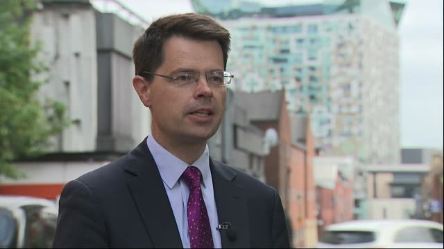 government to announce ban on use of flammable cladding on new residential buildings; england: london: ext james brokenshire mp interview sot. - flammable stock videos & royalty-free footage
