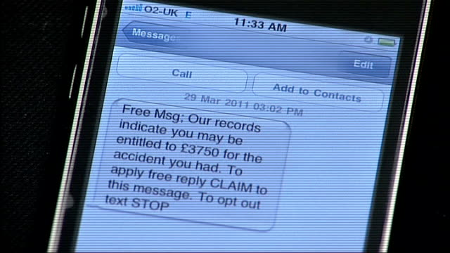 government to cut whiplash assessment report fees lib mobile phone with screen showing messages over eligibility for payout over accident - message stock videos & royalty-free footage
