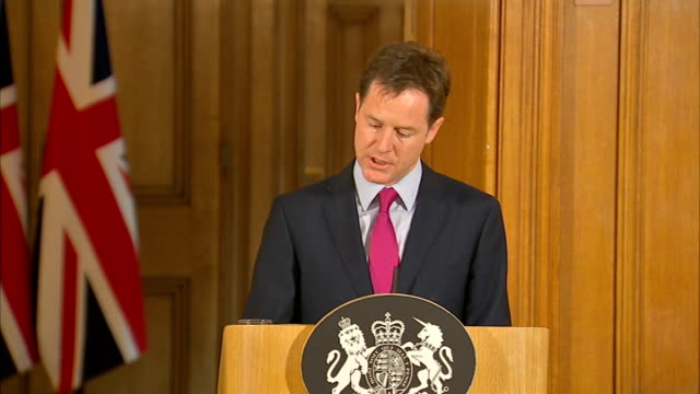 government tries to pass emergency phone and internet data legislation cameron and clegg press conference nick clegg mp press conference sot thank... - conference phone stock videos & royalty-free footage