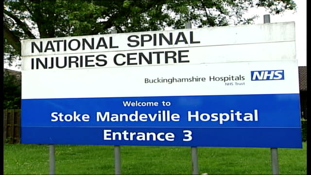 government unlikely to meet mrsa target; tx 6.6.2005 buckinghamshire: stoke mandeville hospital: ext general views hospital - staphylococcus aureus stock videos & royalty-free footage