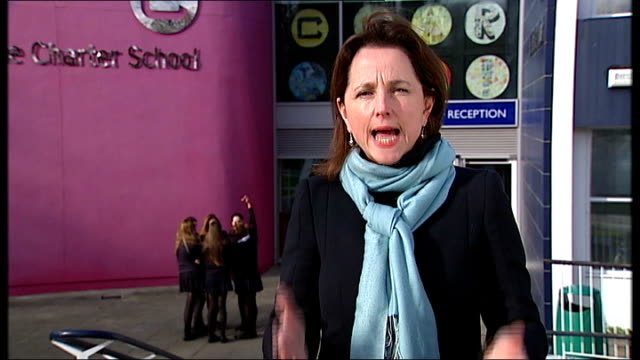 government u-turn on gcse reform; north dulwich: the charter school: ext reporter to camera - dulwich stock videos & royalty-free footage