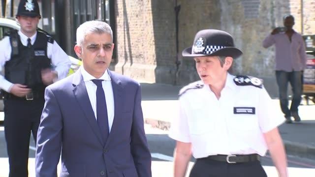 government uturn on police funding 1962017 london mayor sadiq khan and metropolitan police commissioner cressida dick along together - コミッショナー点の映像素材/bロール