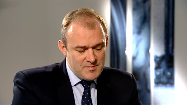 Ed Davey interview ENGLAND London INT Ed Davey interview SOT If we invest in clean energy won't have to import foreign gas and oil we can produce...