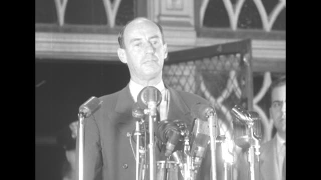 governor adlai stevenson at mikes for press conference announcing that he will accept the nomination for the democratic party i feel no exaltation... - adlai stevenson ii stock videos and b-roll footage