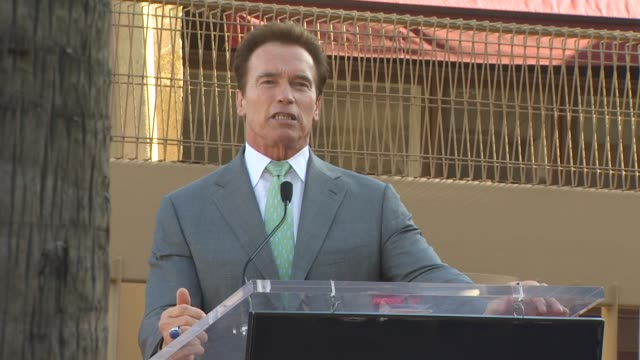 governor arnold schwarzenegger at the james cameron honored with a star on the hollywood walk of fame at hollywood ca. - governor stock videos & royalty-free footage