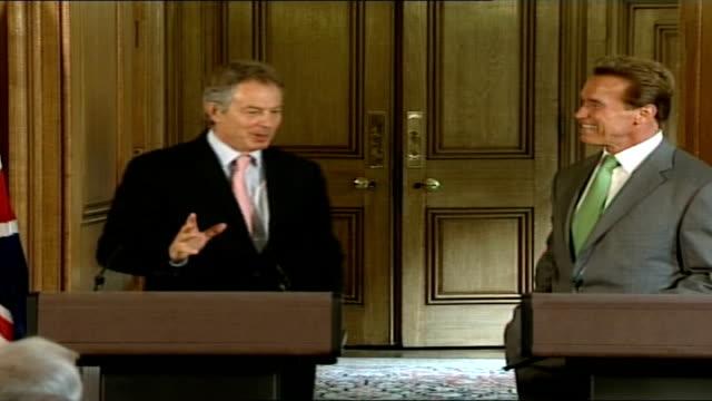 Governor Arnold Schwarzenegger official visit Tony Blair MP press conference alongside Arnold Schwarzenegger SOT My press officer said to me...