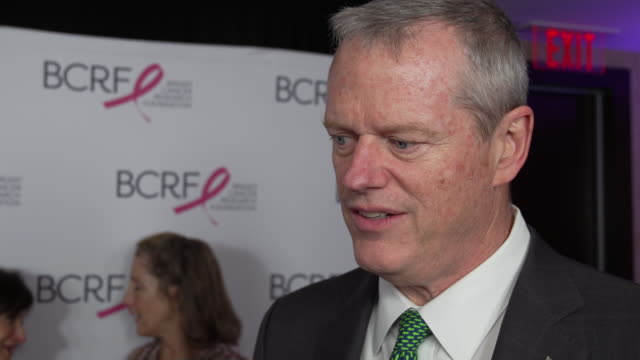 governor charlie baker talks about the importance of bcrf at the breast cancer research foundation's boston hot pink party honoring bill belichick &... - governor stock videos & royalty-free footage