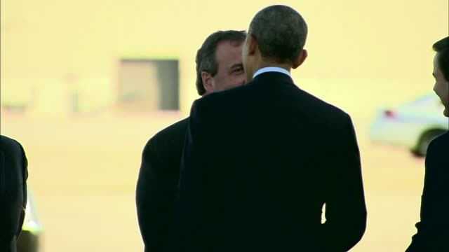 Governor Christie was the first person to greet Obama when he disembarked from Air Force One the followed US Senator Cory Booker and Robert Menendez...