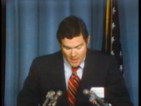 governor christopher bond speaks about watergate and other violations of the law by the republicans and the need to now maintain party unity. - united states and (politics or government) stock videos & royalty-free footage