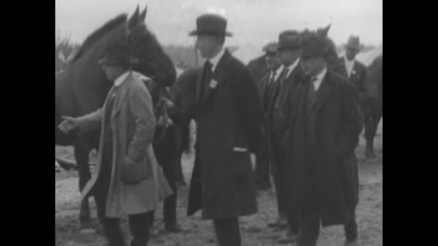 vídeos y material grabado en eventos de stock de governor james cox , 1920 democratic presidential nominee, at livestock show in spokane, wa, pins blue ribbon on donkey, shakes rancher's hand / cox... - distrito electoral