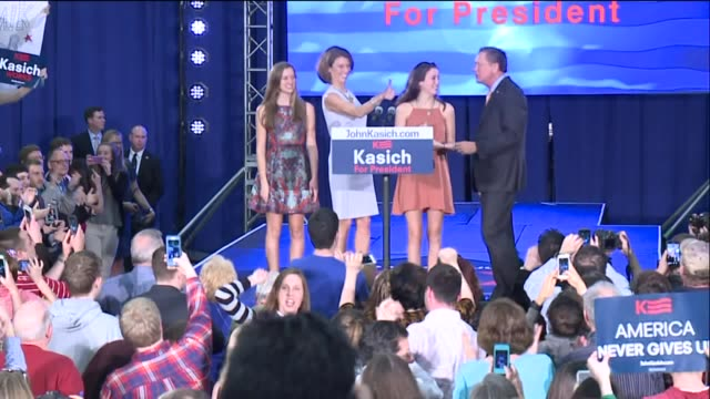 wjw governor john kasich gives victory speech after winning ohio republican primary in cleveland ohio on march 15 2016 - vorwahl stock-videos und b-roll-filmmaterial