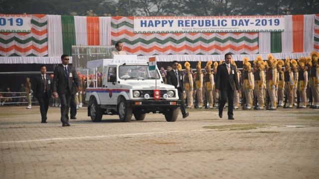Governor of Assam Prof Jagdish Mukhi inspects parade during the 70th Republic day celebration