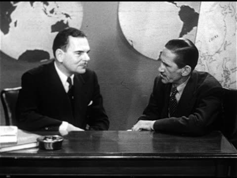 blueprint for free china ms governor of new york thomas e dewey sitting at desk w/ westbrook van voorhis listening to question answering - 1951 stock videos & royalty-free footage