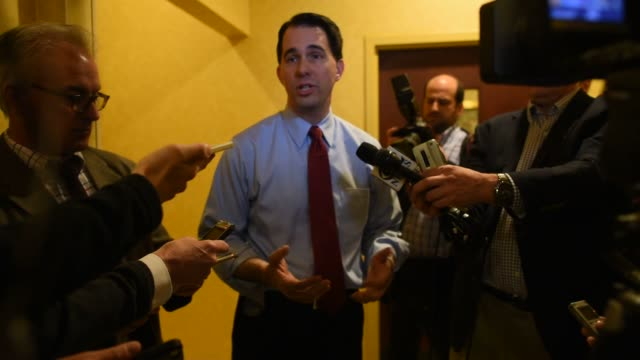 Governor of Wisconsin Scott Walker campaigns in Cedar Rapids Iowa on April 24th 2015 Shots Full question and answer session with Scott Walker and the...