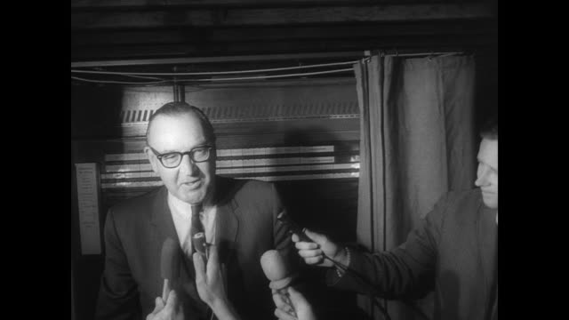 stockvideo's en b-roll-footage met governor pat brown voting on election day in front of press coming out of voting booth - gouverneur