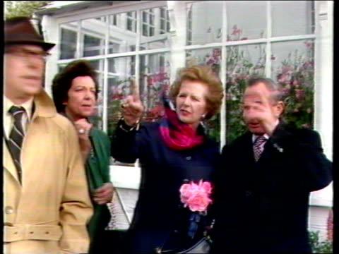 stockvideo's en b-roll-footage met governor rex hunt points out direction british troops marched on port stanley during falklands conflict to prime minister margaret thatcher falkland... - atlantische eilanden