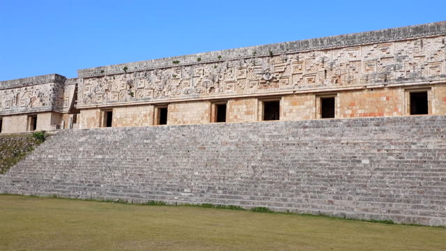 governor's palace in maya ruin complex of uxmal - maya culture in mexico - mayan stock videos & royalty-free footage