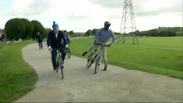 gps in england will be able to prescribe cycling to unfit patients under £2 billion scheme; england: nottinghamshire: ext boris johnson mp along on... - boris johnson stock videos & royalty-free footage