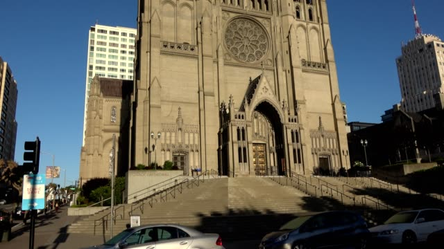grace cathedral - nob hill stock videos & royalty-free footage