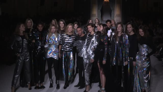 grace elizabeth cindy bruna their fellow models and designer olivier rousteing on the runway for the balmain ready to wear fall winter 2018 fashion... - grace elizabeth stock videos & royalty-free footage