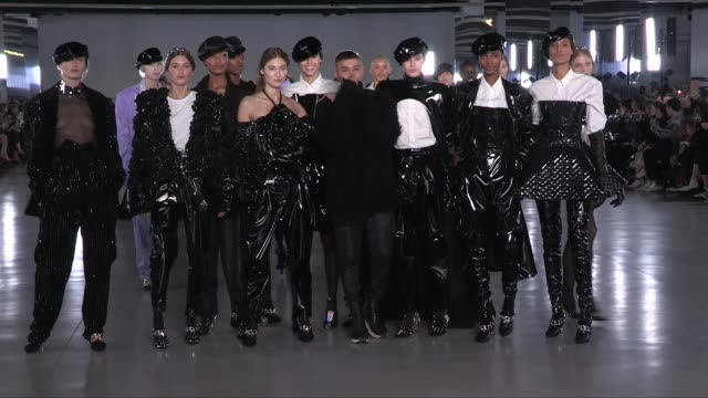 grace elizabeth dilone models and designer olivier rousteing on the runway for the balmain ready to wear fall winter 2019 fashion show in paris... - grace elizabeth stock videos & royalty-free footage