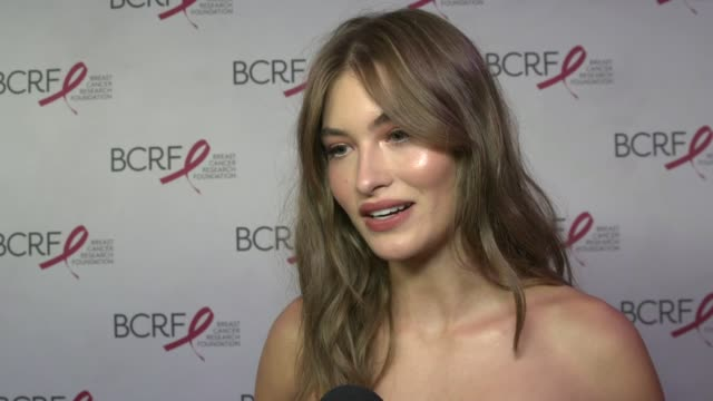 interview grace elizabeth on estee lauder's campaign and its 25 year impact on cancer research fundraising at breast cancer research foundation's... - grace elizabeth stock videos & royalty-free footage