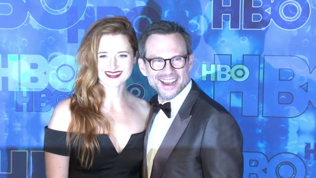 grace gummer and christian slater at the hbo's post emmy awards reception arrivals at the plaza at the pacific design center on september 18 2016 in... - christian slater stock videos & royalty-free footage