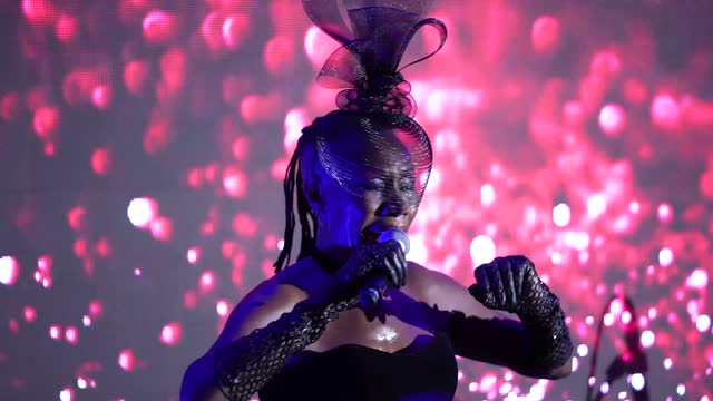 grace jones performs at the icon ball 2021 during london fashion week september 2021 at the landmark hotel on september 17, 2021 in london, england. - hd format stock videos & royalty-free footage