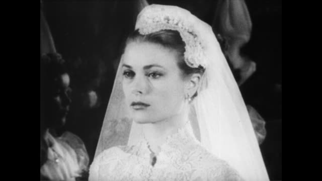 / grace kelly and prince rainier get married / rainier / kelly grace kelly marries prince rainier on april 19, 1956 in monaco - actress stock videos & royalty-free footage