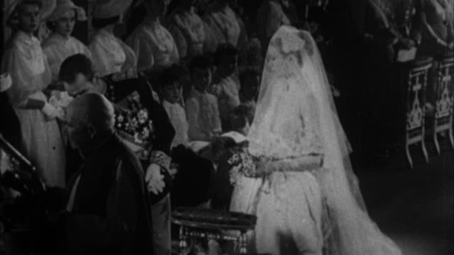 grace kelly and prince rainier iii of monaco wedding / monaco - grace kelly actress stock videos & royalty-free footage