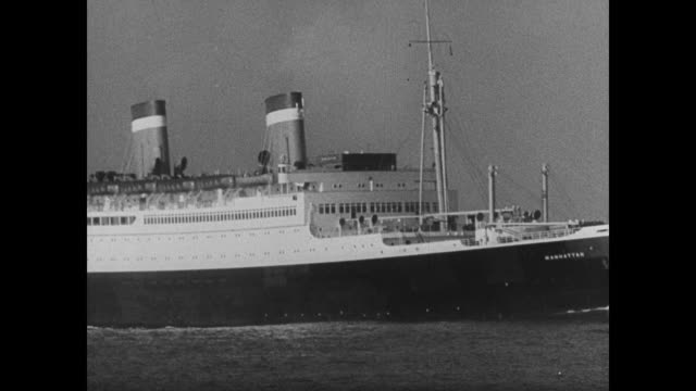 grace line ss santa lucia ocean liner, bow, vs passenger liner. businessman joseph kennedy working w/ papers at desk. - passenger ship stock videos & royalty-free footage