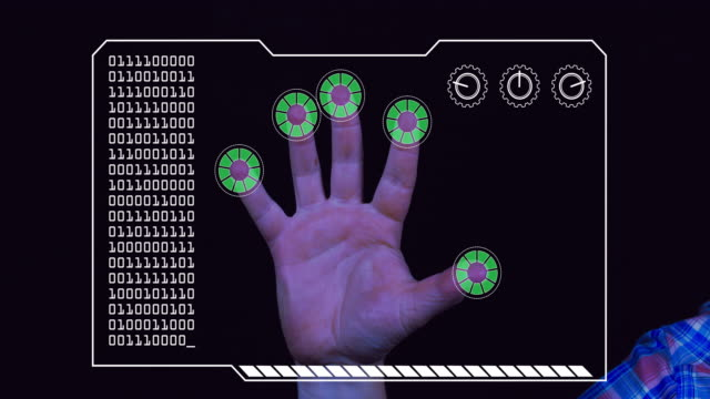 Graded close-up of a man's hand with HUD scanning graphic overlay finishing with green 'permission granted' finger trackers.