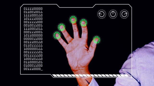graded close-up of a man's hand with hud scanning graphic overlay finishing with green 'permission granted' finger trackers. - menschlicher finger stock-videos und b-roll-filmmaterial