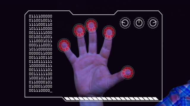 graded close-up of a man's hand with hud scanning graphic overlay finishing with red 'access denied' finger trackers. - permission concept stock videos & royalty-free footage
