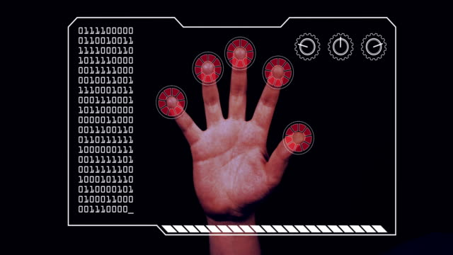Graded close-up of a man's hand with HUD scanning graphic overlay finishing with red 'access denied' finger trackers.