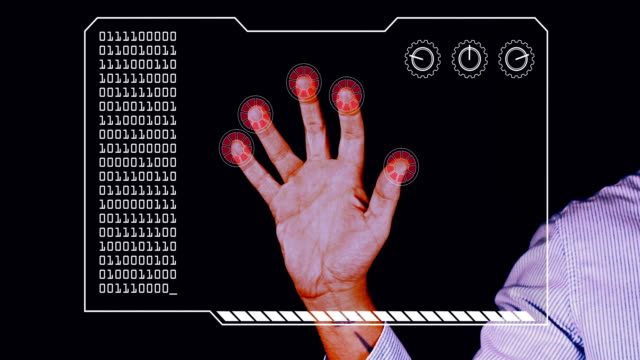 graded close-up of a man's hand with hud scanning graphic overlay finishing with red 'access denied' finger trackers. - graphical user interface stock videos & royalty-free footage