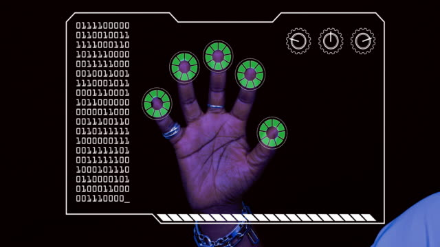 graded close-up of a woman's hand with hud scanning graphic overlay finishing with green 'permission granted' finger trackers. - computer graphic stock videos & royalty-free footage