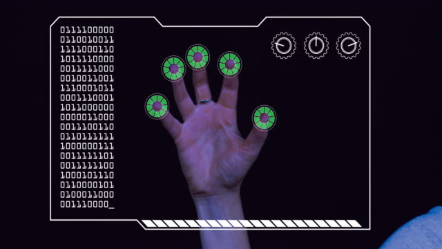 graded close-up of a woman's hand with hud scanning graphic overlay finishing with green 'permission granted' finger trackers. - permission concept stock videos & royalty-free footage