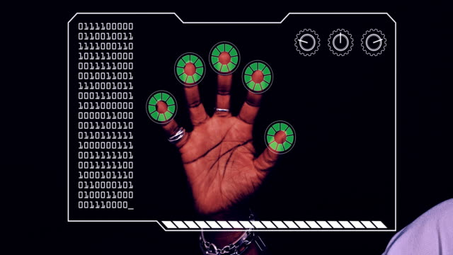 graded close-up of a woman's hand with hud scanning graphic overlay finishing with green 'permission granted' finger trackers. - big brother orwellian concept stock videos & royalty-free footage