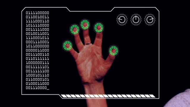 Graded close-up of a woman's hand with HUD scanning graphic overlay finishing with green 'permission granted' finger trackers.