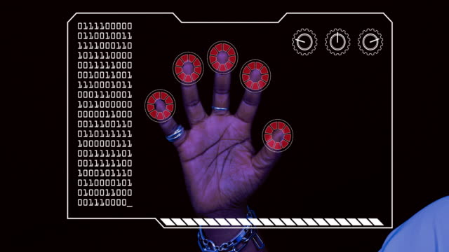 graded close-up of a woman's hand with hud scanning graphic overlay finishing with red 'access denied' finger trackers. - permission concept stock videos & royalty-free footage