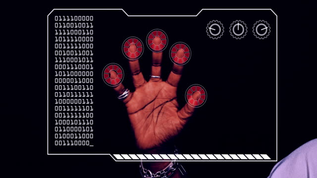 Graded close-up of a woman's hand with HUD scanning graphic overlay finishing with red 'access denied' finger trackers.